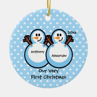 Snowmen Twin Boys Baby s First Christmas Ornament