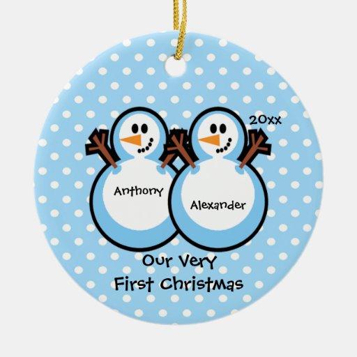 Snowmen Twin Boys Baby's First Christmas Ornament
