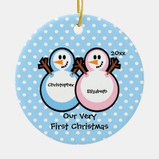 Snowmen Twins Baby's First Christmas Ornament