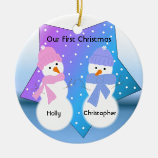 Snowmen Twins First Christmas Christmas Ornament