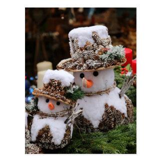 Snowmen Wearing Pinecone Hat Postcard
