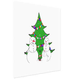 Snowmen with Christmas Tree Family Gallery Wrapped Canvas