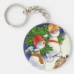 Snowmen With Christmas Tree Keychain