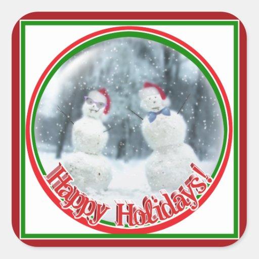 Snowmen with Glasses & a Bow Tie Square Sticker
