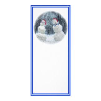 Snowmen with Glasses & Santa Hats Custom Rack Cards