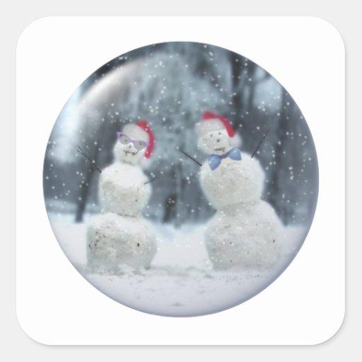 Snowmen with Glasses & Santa Hats Square Sticker