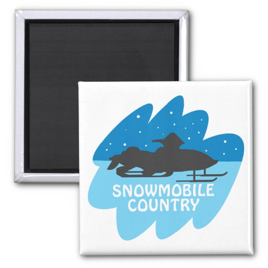 Snowmobile Country Square Magnet