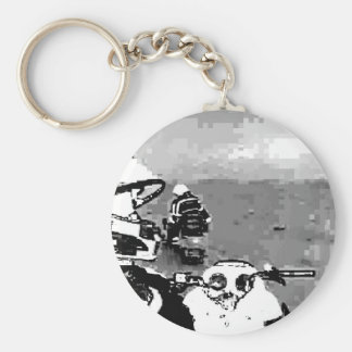 Snowmobile Freedom Basic Round Button Key Ring