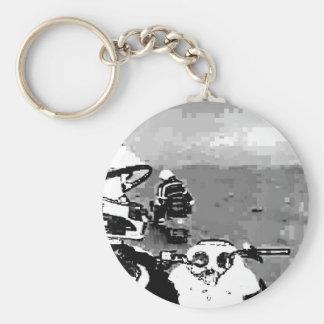 Snowmobile Freedom Basic Round Button Key Ring
