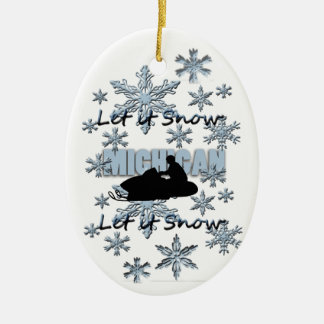 Snowmobile Let it Snow Michigan Christmas Ornament