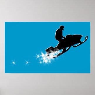 snowmobile. powder trail. poster