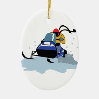 SNOWMOBILE RIDER CERAMIC OVAL DECORATION