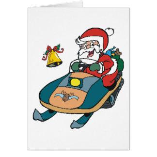Snowmobile Santa Card