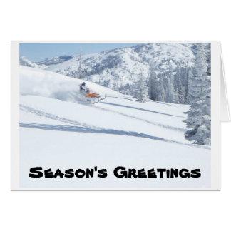 snowmobile, Season's Greetings Greeting Cards