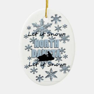 Snowmobile Snow North Dakota Christmas Ornament