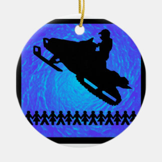 SNOWMOBILE THE RIGHTS ROUND CERAMIC DECORATION