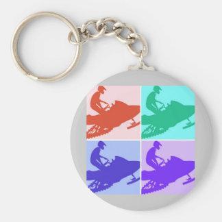 Snowmobiler/Pop Art Basic Round Button Key Ring
