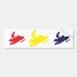 Snowmobiler/Red,Yellow,Blue Bumper Sticker