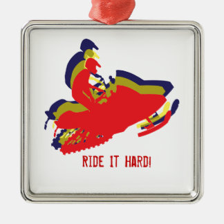 Snowmobiler/ Ride it Hard! Christmas Ornament