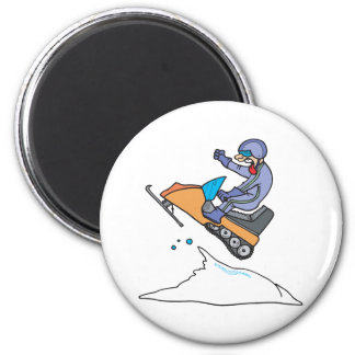 Snowmobiling Jump 6 Cm Round Magnet
