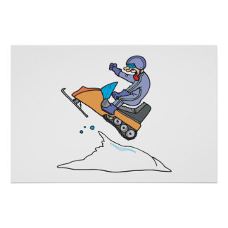 Snowmobiling Jump Poster