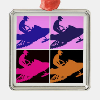 Snowmobiling Pop Art Christmas Ornament