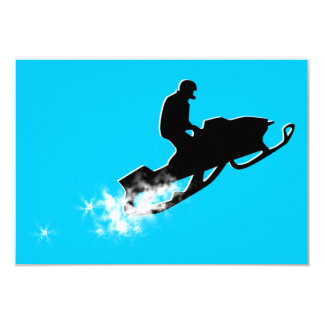 snowmobiling : powder trail 9 cm x 13 cm invitation card