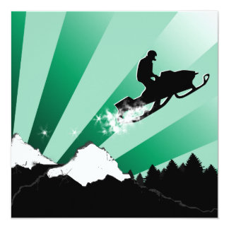 snowmobiling : pthalo powder trail 13 cm x 13 cm square invitation card