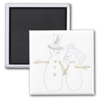 Snowpeople Bride and Groom Square Magnet