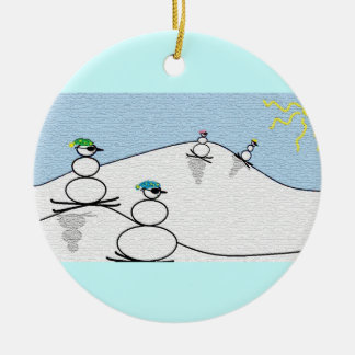 Snowpeople Skiing Christmas Ornament