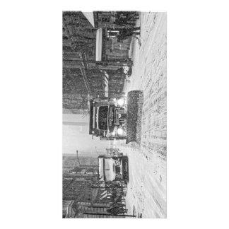 Snowplow on a snowy street custom photo card