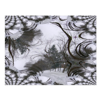 Snowscene Trees Fractal Trace Postcard