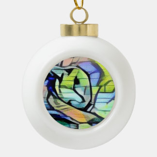 snowshoe blue/green graffiti kitty ceramic ball christmas ornament