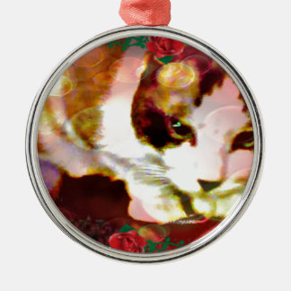 snowshoe kitty in the red roses christmas ornament