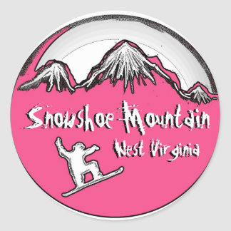 Snowshoe Mountain pink theme snowboard stickers