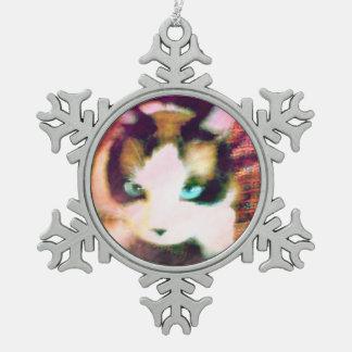 snowshoe turquoise eyed kitty snowflake pewter christmas ornament