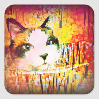 snowshoe vibrant colors kitty square sticker