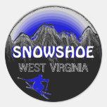 Snowshoe West Virginia blue ski stickers