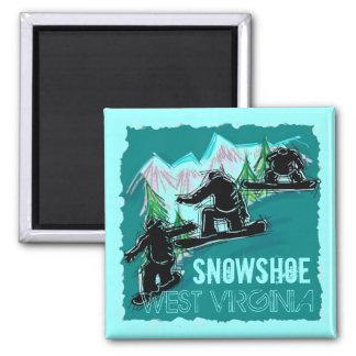 Snowshoe West Virginia teal snowboarding magnet