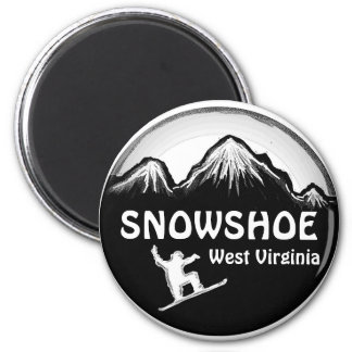 Snowshoe West Virginia white snowboard magnet