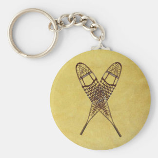 Snowshoes Basic Round Button Key Ring