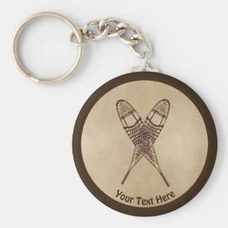 Snowshoes On Old Paper Key Ring