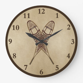 Snowshoes On Old Paper Large Clock