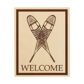 Snowshoes - Welcome Wood Print