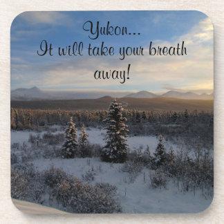 Snowy Afternoon; Yukon Territory Souvenir Beverage Coasters