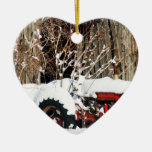 Snowy Antique Tractor Christmas Tree Ornaments