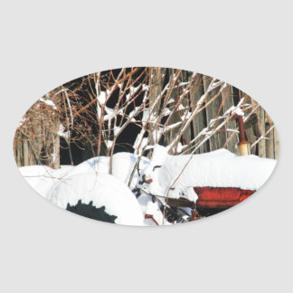 Snowy Antique Tractor Stickers