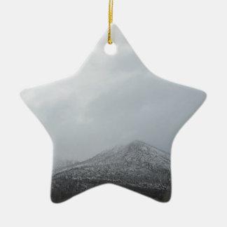 Snowy Arizona Mountain Double-Sided Star Ceramic Christmas Ornament