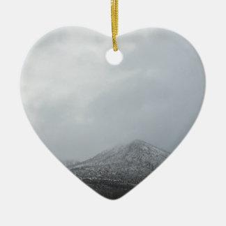Snowy Arizona Mountain Double-Sided Heart Ceramic Christmas Ornament