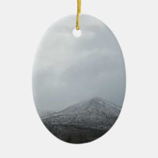 Snowy Arizona Mountain Double-Sided Oval Ceramic Christmas Ornament